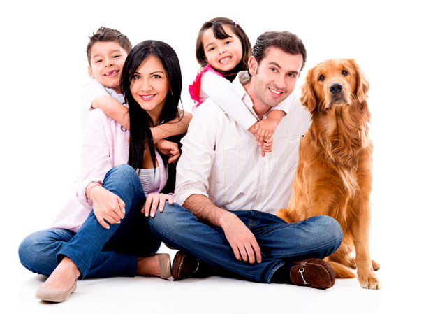 bigstock-Happy-family-with-a-dog--isol-46756744