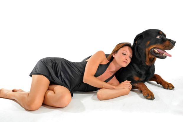 sleeping woman and rottweiler